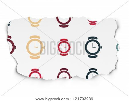 Time concept: Watch icons on Torn Paper background