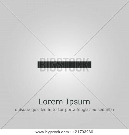 Minus Icon, On Grey Background, Dark Outline, Example Text