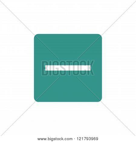 Minus Icon, On Green Rectangle Background, White Outline