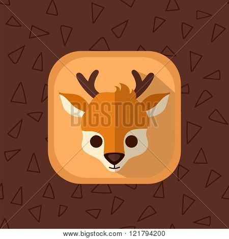 Little Cute Baby Deer Flat Icon.