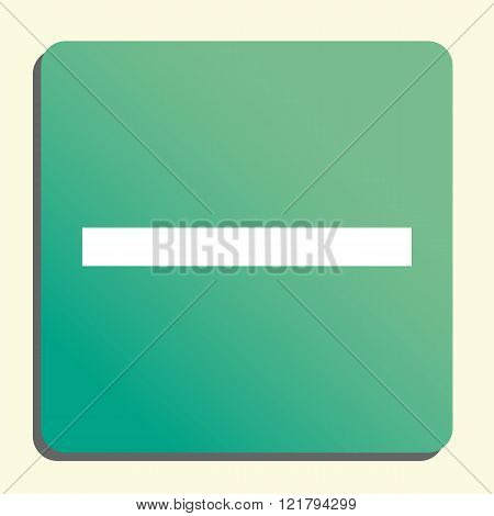Minus Icon, On Button Style Green Background, Yellow Light, Shadow