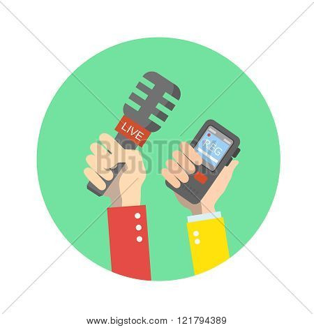 hand holding microphone. Live news. Press illustration.