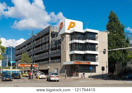 EINDHOVEN NETHERLANDS - AUGUST 26 2015: Exterior of a parking garage in the center of Eindhoven