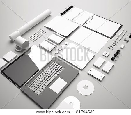 Branding Identity Mock Up. Set includes a laptop, a tube, a pencil, a tablet, a smartphone; icon; clip, business cards, pens, CD, flash card, paper clips, erasers, cup, sticker, blank, sheet A4