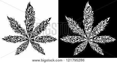 Marijuana cannabis textured leaf symbol vector illustration