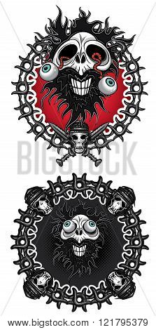dead man horror skull eyes coming out metal chain background
