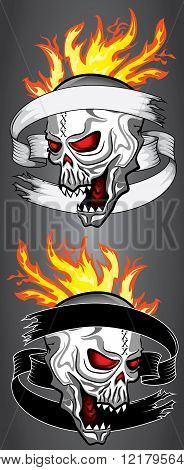 punk demonic cyber fantasy skull design fire flames illustration
