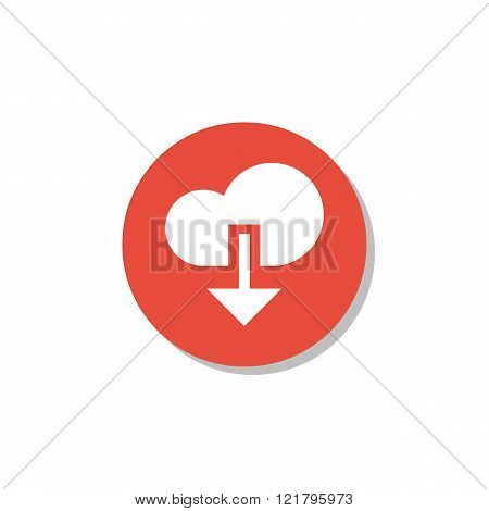 Cloud Download Icon, On White Background, Red Circle Border, White Outline