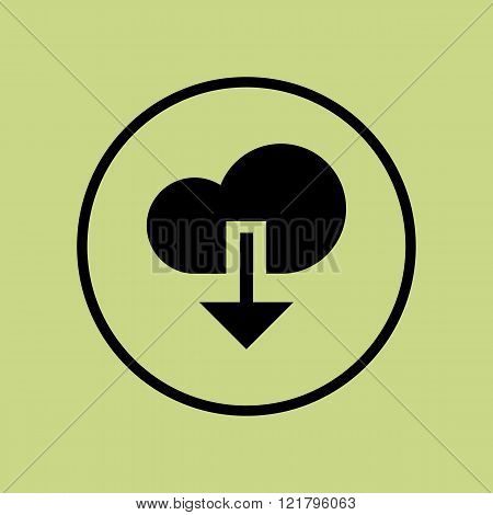 Cloud Download Icon, On Green Background, Circle Border, Dark Outline