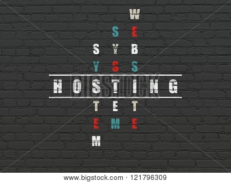 Web development concept: Hosting in Crossword Puzzle