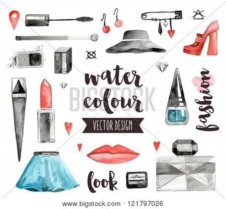Makeup Accessories Watercolor Vector Objects