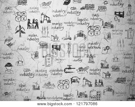 Grunge background:  wall texture with Painted Hand Drawn Industry Icons
