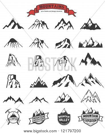 Mountains Labels And Design Elements Set