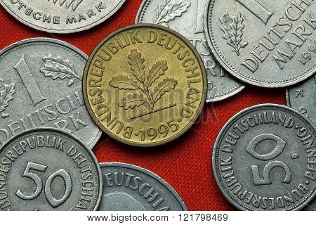 Coins of Germany. Oak sprig depicted in the German 10 pfennig coin.