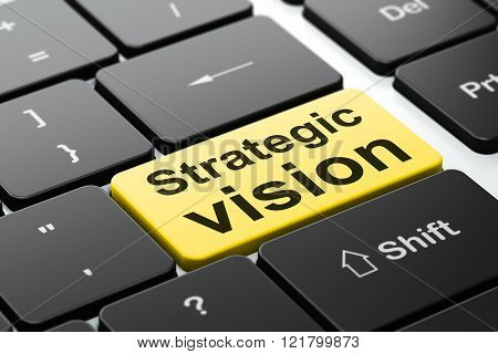 Business concept: Strategic Vision on computer keyboard background