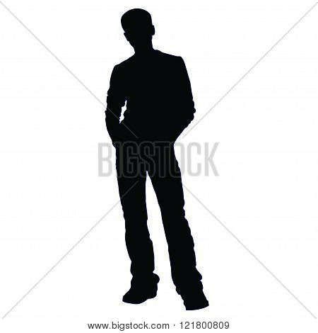 The teenager is waiting with his hands in his jeans pockets - silhouette vector