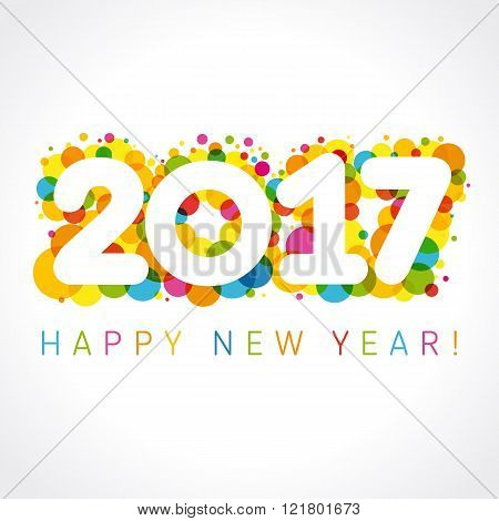 2017 happy new year numbers colorul