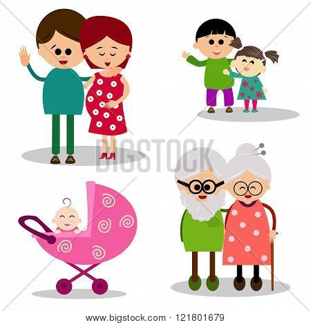 Illustration of a cute family on white background.