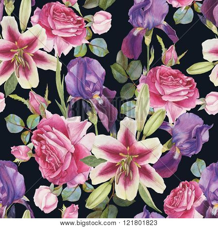 Floral seamless pattern with hand drawn watercolor lilies, roses and iris