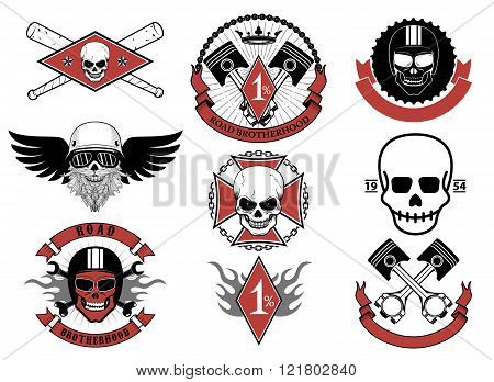 Set Of Biker Badges And Emblems.