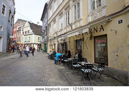 Cesky Krumlov, Czech Republic - May 01, 2013: Streets Of The Historic Town Cesky Krumlov