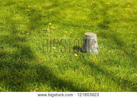 Spring Gardening - Overturned Pot Upside Down In Grass, Copyspace