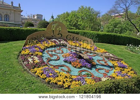 Vienna, Austria - April 26, 2013: Garden Bed With Colourful Flowers In The Viennese City Park (wiene