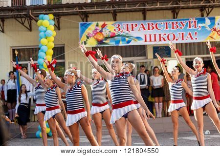 Odessa, Ukraine - September 1, 2015: School line is in schoolyard. The Knowledge Day in Ukraine, Sch