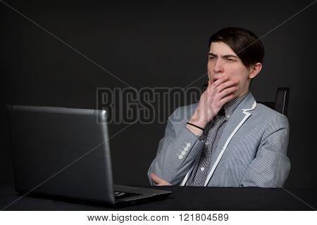 Yawning Caucasian Young Man