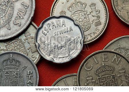 Coins of Spain. Seville landmarks depicted in the Spanish 50 peseta coin (1990).