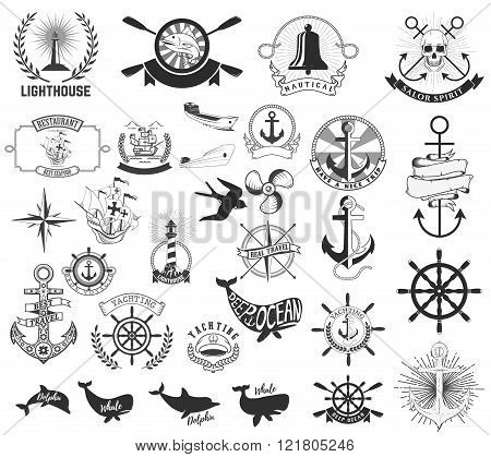 Set Of The Nautical Labels, Emblems And Design Elements.