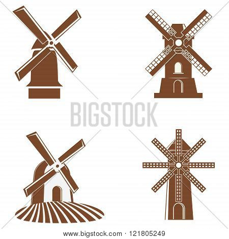 Set Of Vector Windmill Icons.