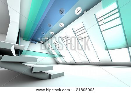 A futuristic entrance hall to a corporate building. 3D rendered Illustration.