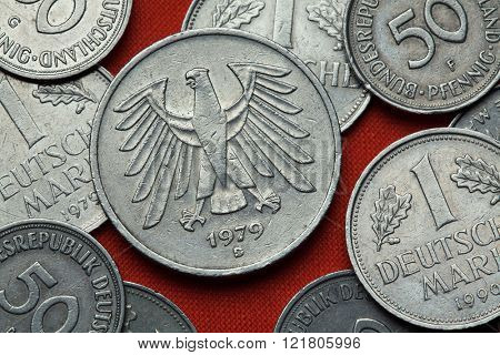 Coins of Germany. German eagle depicted in the German five Deutsche Mark coin (1979).