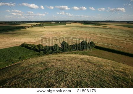 Battlefield of the Battle of Waterloo (1815) near Brussels, Belgium, pictured from the top of the Lion's Mound.