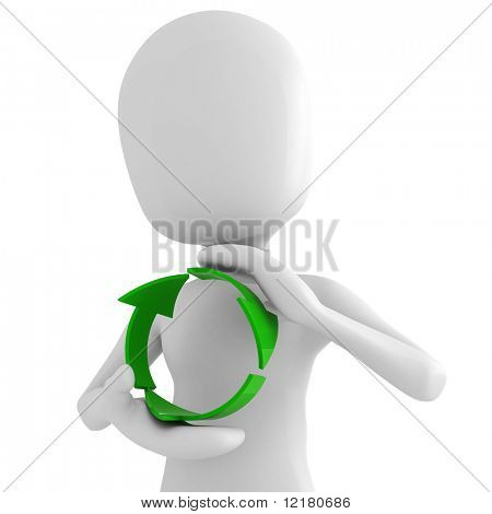 3d man holding the recycle symbol