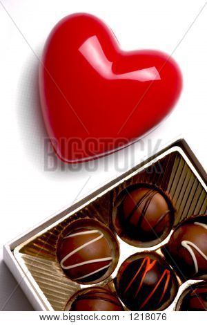 Red Heart And Box Of Chocolate Candy, Symbol Of Love