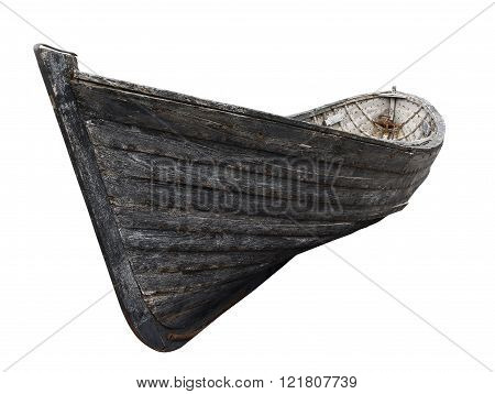 Horizontal side view of an old fishing wood boat with rusted nails isolated on white background