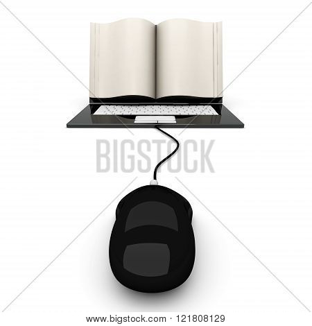 A digital book on a laptop screen. Symbolic 3D rendered Illustration.