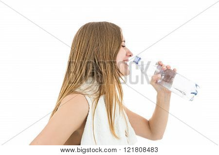 Fitness Woman Profile Drinking Water