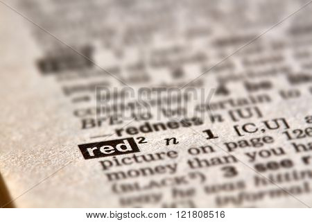 Red Word Definition Text
