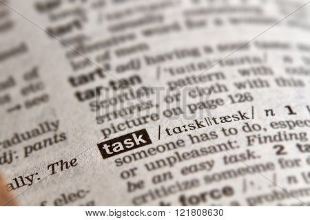 Task Word Definition Text