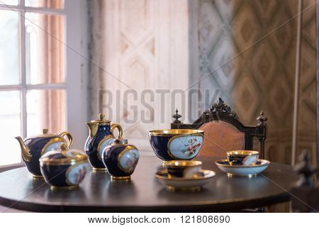 Tea Set Inside Pena Palace In Sintra,