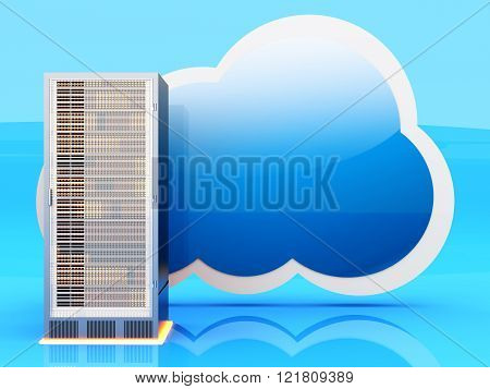 Server cloud computing. A 3D rendered illustration.