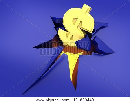 The dollar crashing into the floor. Symbolic for a currency crisis. 3d rendered illustration.