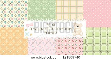 Set of 8 retro different vector seamless patterns (tiling) of blue, orange, ivory, pink, green colors. Endless texture can be used for pattern fills, web page background, baby and scrapbooking design