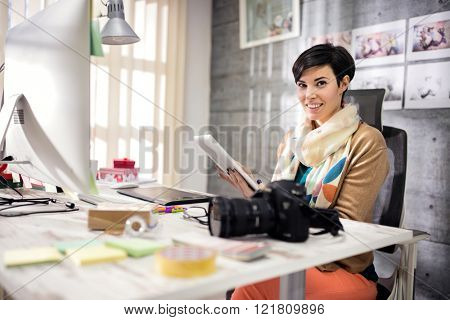 Business woman in modern equipped art studio