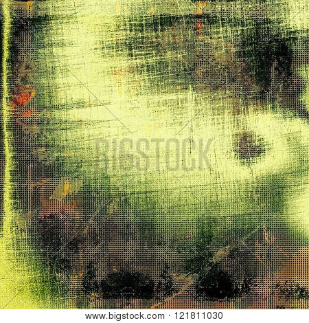 Abstract scratched background or frame with grunge background texture. With different color patterns: yellow (beige); brown; green; black