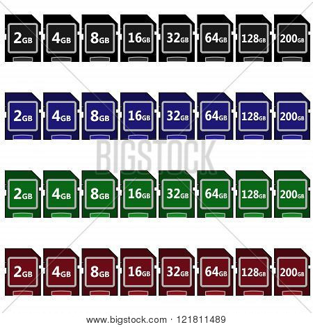 Set of black, blue, green and red vector sd card icons