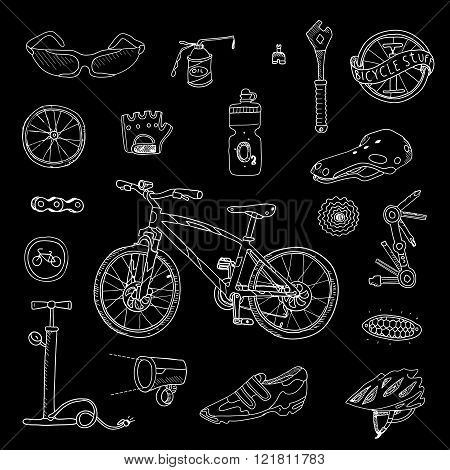 Bicycle stuff. Doodle set in vector isolated.